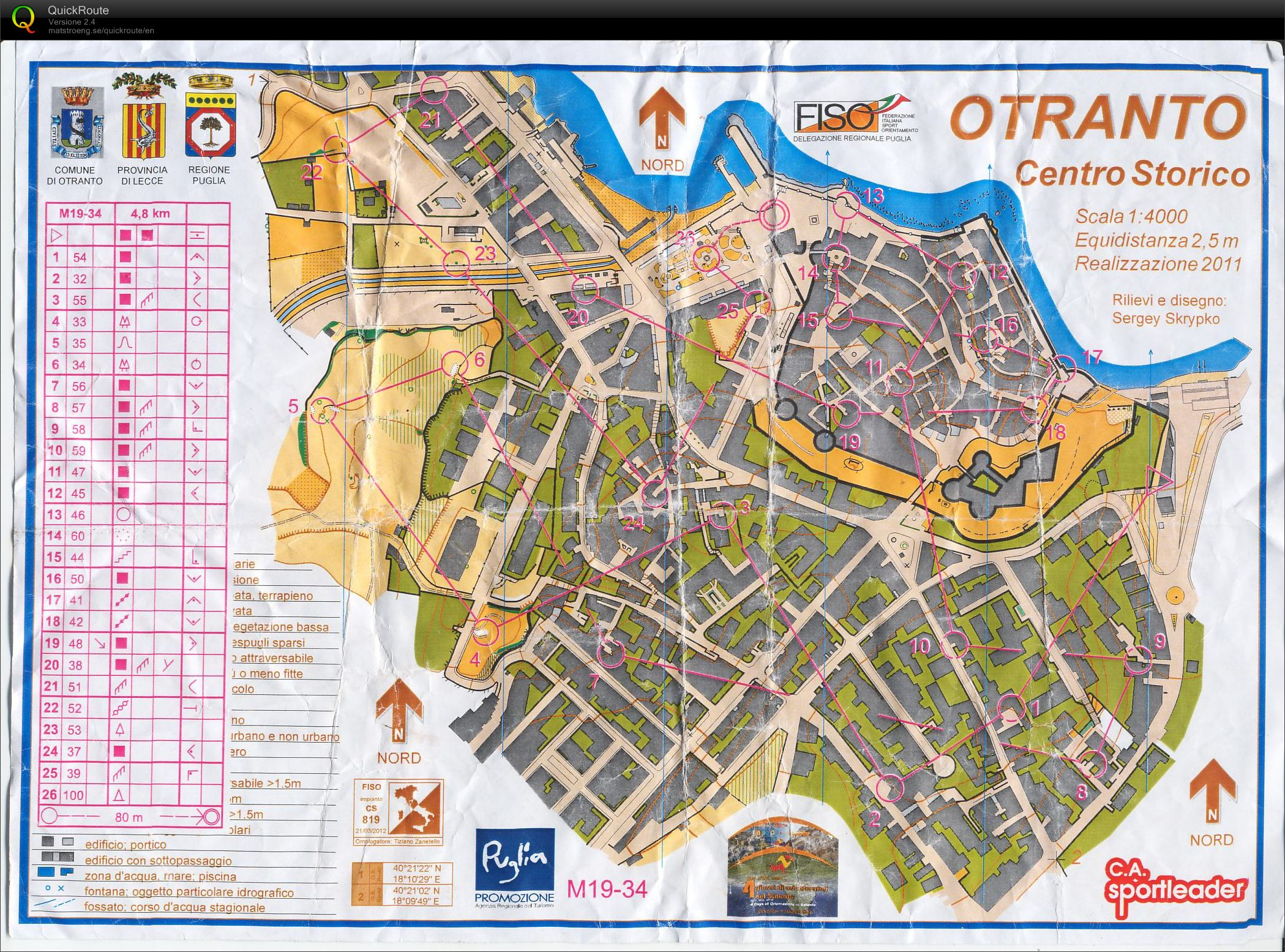 Otranto Italy Map.Notturna A Otranto April 28th 2012 Orienteering Map From Edoardo
